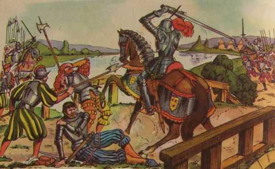 Bayard défend le pont de Garigliano - Gravure extraite d'un manuel scolaire de 1960