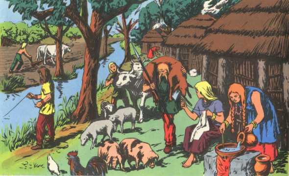 Village gaulois - Illustration tirée du livre Histoire de France pour les cours élémentaires en 1969