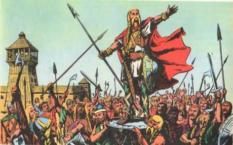 Les guerriers francs choisissent Clovis pour roi
