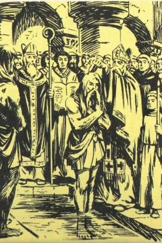 Le baptême de Clovis - Gravure extraite d'un manuel scolaire de 1968